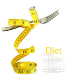 Balanced diet represented by a fork on measuring tape. Isolated on white Stock Image