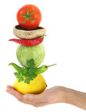 Balanced diet with vegetables Stock Images