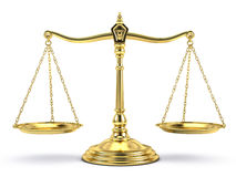 Balanced gold scale  on white. Justice, law, decisions concept - Balanced gold scale  on white Royalty Free Stock Photography
