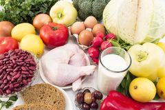 Balanced Healthy Food Recommended for Diabetes and Hypertension stock photography