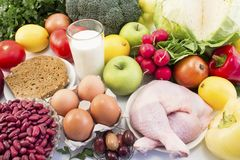 Balanced Healthy Food Recommended for Diabetes and Hypertension royalty free stock photo