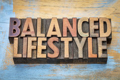Balanced lifestyle word abstract in wood type Royalty Free Stock Photography