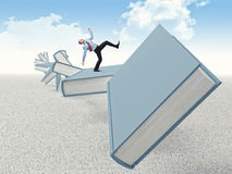 Man on books. Balanced man on 3d abstract books Stock Photography
