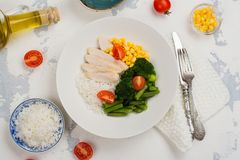 Balanced meal or diet concept Stock Images