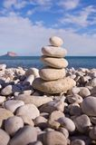 Balanced Pebbles On Beach Stock Photo
