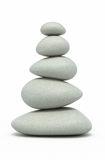 Balanced pebbles. 3d render Balanced pebbles ( on white and clipping path Royalty Free Stock Photos