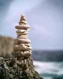 Balanced pebbles, vintage processing Stock Photo