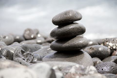 Balanced pile of zen stones Royalty Free Stock Photos
