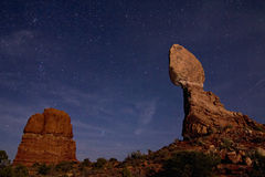 Balanced Rock. Starry Skies over Balanced Rock in Arches National Park Royalty Free Stock Images