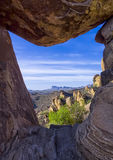 Balanced Rock. View through the famous Balanced Rock formation in the Grapevine Hills section of Big Bend National Park Stock Photo