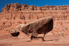 A balanced rock along the road to Lees Ferry. A balanced rock near Lees Ferry in the Glen Canyon National Recreation Area, Utah Royalty Free Stock Image