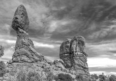 Balanced Rock in Arches National Park in Black and White Stock Image