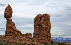 Balanced Rock Arches National Park Moab Utah. Balanced Rock and the La Sal mountains in the background of Arches National Park in Moab Utah Royalty Free Stock Photos