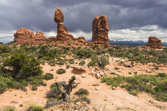 Balanced rock in Arches National Park Stock Photography
