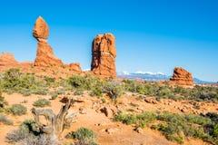 Balanced Rock, Bubo Tower, La Sal Mountains, Arches National Park, UT Stock Photos