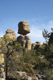 Balanced rock at Chiricahua. The famous balanced rock found in the middle of the Chiricahua National Monument in southern Arizona, in the early spring, with a Royalty Free Stock Photos
