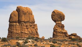Balanced Rock and Mesa. Balanced Rock at Arches National Park, Utah, USA Royalty Free Stock Image