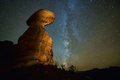Balanced Rock with the Milky Way. Night shot of Balanced Rock at Arches National Park in Utah, with the Milky Way visible in the dark sky Royalty Free Stock Photography