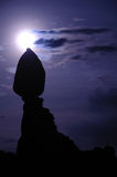 Balanced Rock and Moon in Arches National Park Stock Image