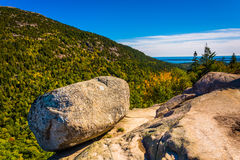 Balanced Rock, at South Bubble, in Acadia National Park, Maine. Royalty Free Stock Images