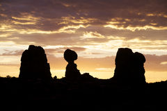 Balanced Rock Sunset Arches N.P. Royalty Free Stock Photo