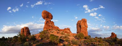Balanced Rock at Sunset - Panorama Stock Photos