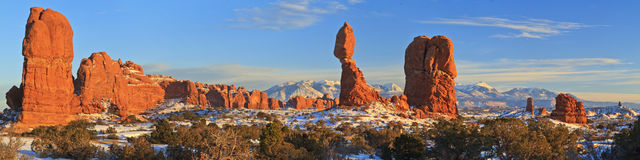 Balanced Rock Winter Panorama Stock Photography