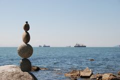 Free Balanced Rocks On Vancouver Beach Stock Photos - 202155043