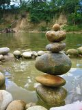 Balanced Rocks in the Venezuelan Paguey River in the State of Barinas Stock Images
