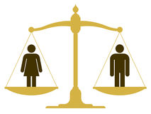 Balanced scale with a man and woman. Balanced old fashioned pan scale with a man and woman showing the equality of the sexes illustration Royalty Free Stock Photos