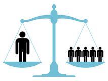 Balanced scale with a single man and a group. Illustration of a balanced vintage scale with a single man and a group of people on each of the pans showing the Royalty Free Stock Images