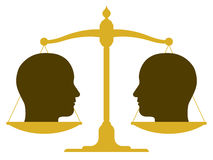 Balanced scale with two heads. Conceptual illustration of the silhouette of a balanced vintage scale with two heads in profile on the pans depicting weight Royalty Free Stock Photo