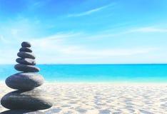 Balanced seven Zen stones stock image