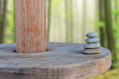 Balanced several Zen stones on blurred beautiful background Stock Images