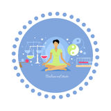 Balanced State Woman Icon Flat Isolated Stock Image