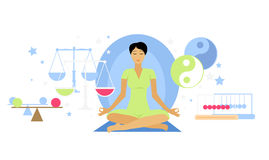 Balanced State Woman Icon Flat  Stock Images