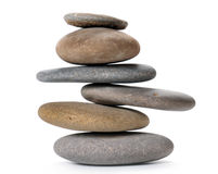 Balanced stone tower. Zen like balanced stone tower isolated on white Stock Photo