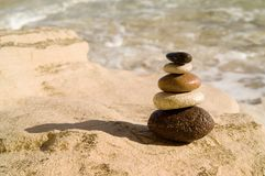 Balanced stones. The five balanced colour stones Stock Image
