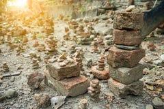 Balanced stones. On an Asian coastline of Thailand royalty free stock image