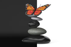 Balanced stones with butterfly Stock Images