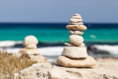 Balanced stones near the beach. Royalty Free Stock Images