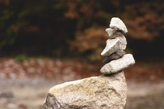 Balanced zen stones stock photo
