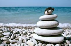Balanced stones on the sea Royalty Free Stock Photo