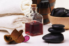 Balanced stones and towel Royalty Free Stock Photo