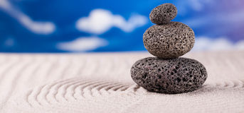 Balanced zen stones, magical ambient atmosphere theme Royalty Free Stock Image