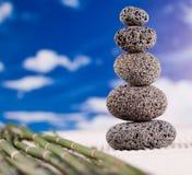 Balanced zen stones, magical ambient atmosphere theme Stock Photo