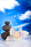 Balanced zen stones, magical ambient atmosphere theme Royalty Free Stock Photo