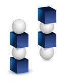 Balancee el concepto con el azul que un vidrio del blanco parte. Fotografía de archivo