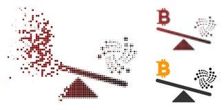 Balancen-Skala-Ikone Schein-Pixel-Halbton-Iotas Bitcoin lizenzfreie abbildung