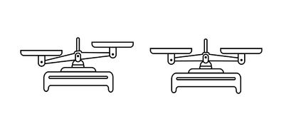 Balancenskala-Ikonensatz Schüsseln Skalen in der Balance, eine Unausgeglichenheit von Skalen Vektorsymbolillustration Zeile Ausle lizenzfreie abbildung